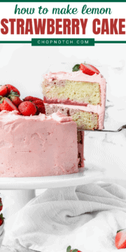 A slice of lemon strawberry cake being served.
