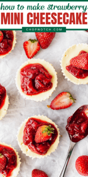 Strawberry cheesecake bites on a table.