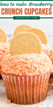 A strawberry crunch cupcake with a vanilla Oreo on top.