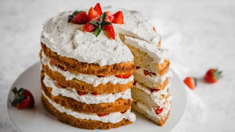 Gluten-free and keto strawberry shortcut cake ready to be served.
