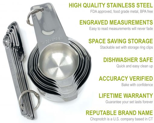 A close up of the complete Chopnotch measuring set with a list of features.