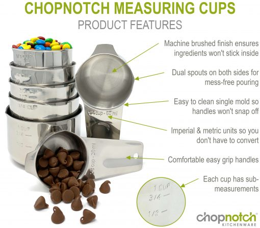 A close up of the Chopnotch measuring cups with a list of features.