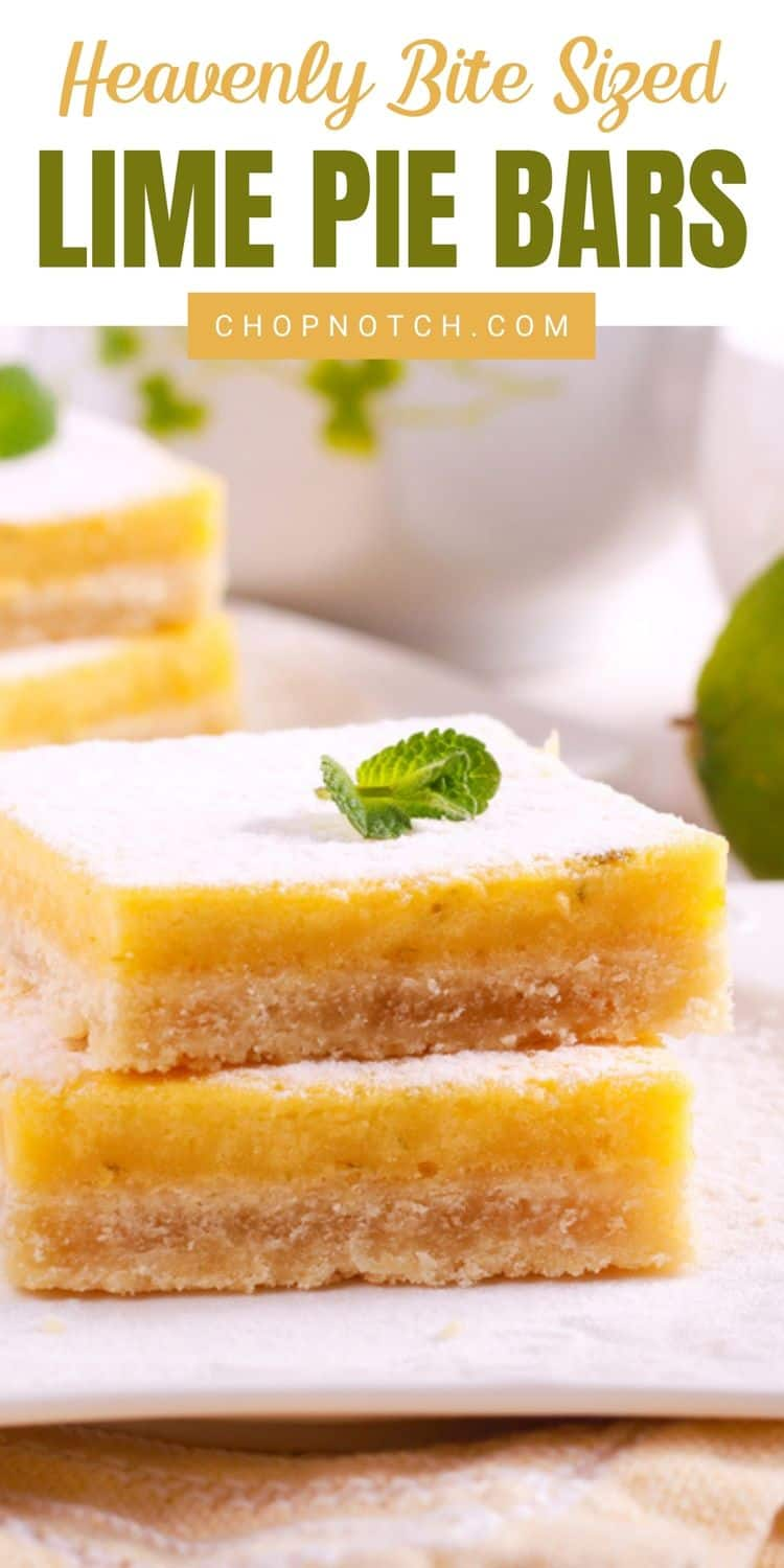 Two lime pie bars stacked.