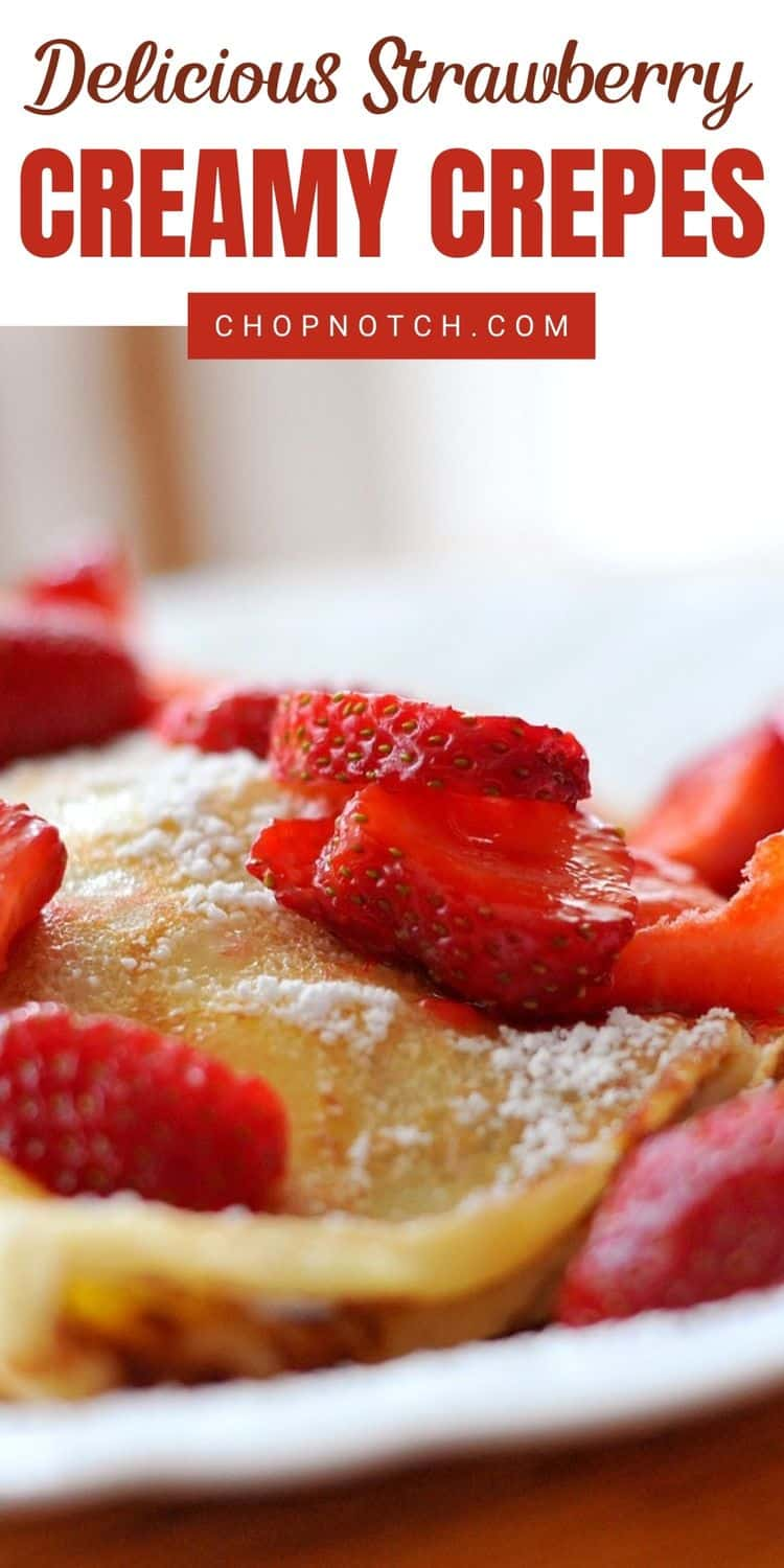 Strawberry crepes close up.