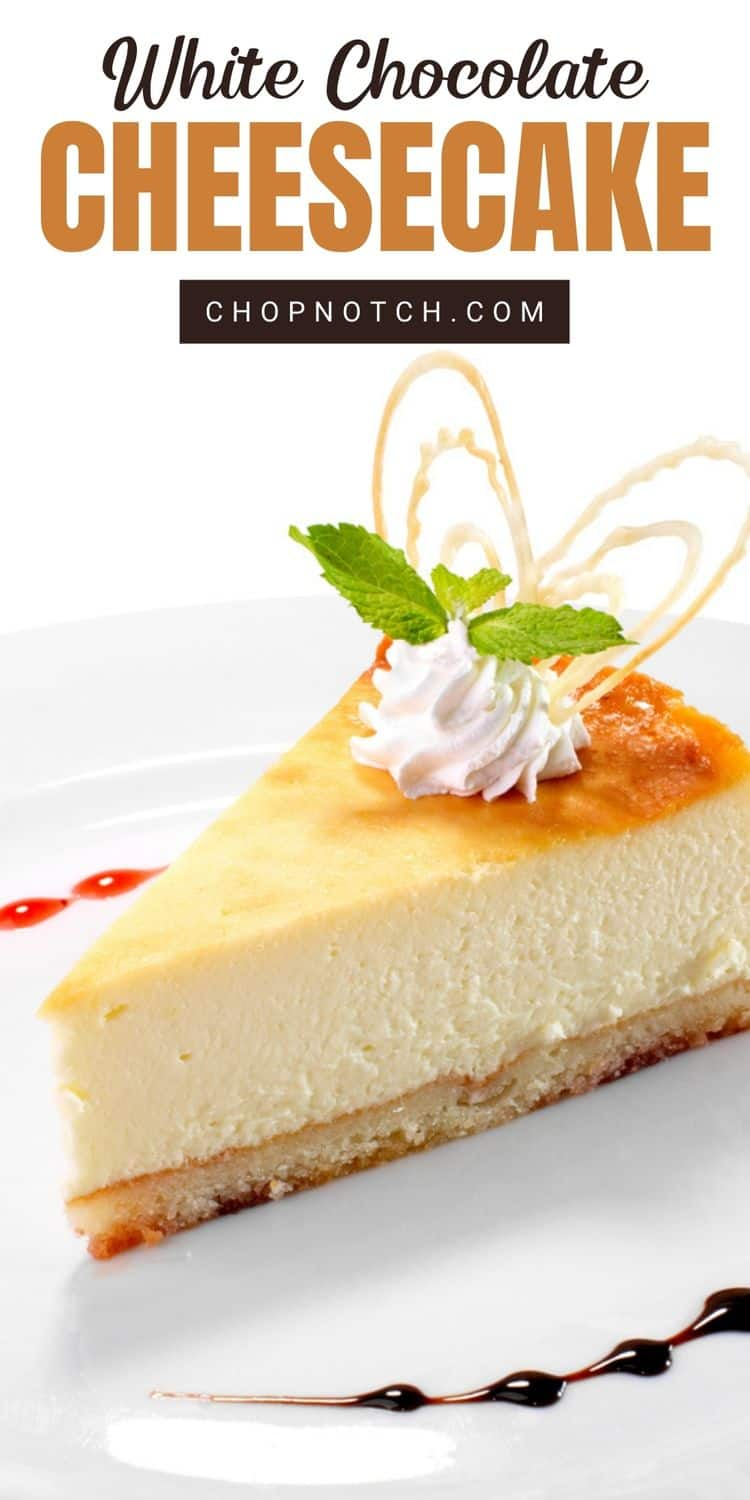 A slice of white chocolate cheesecake.