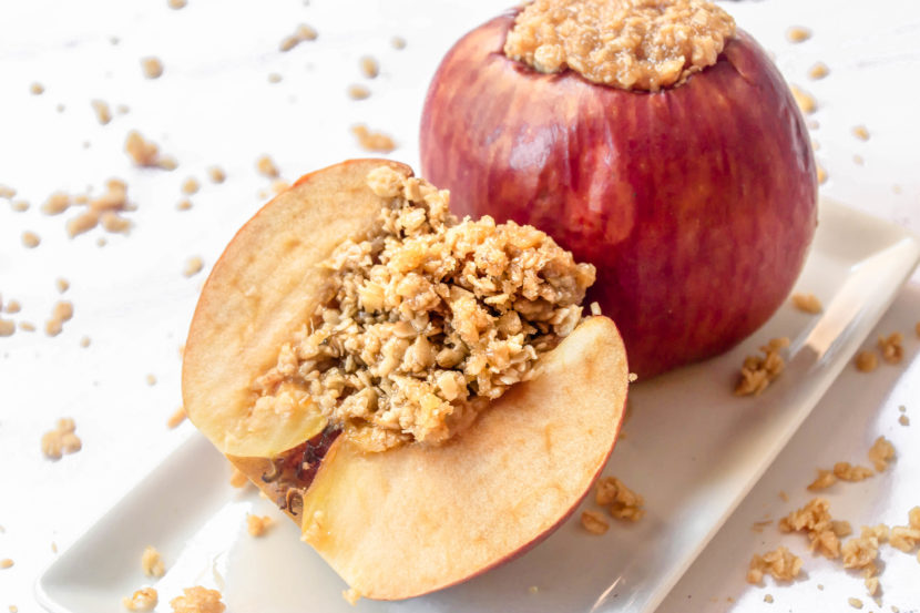 The best oatmeal baked apples on a dish on the table.