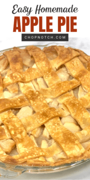 A homemade apple pie with lattice crust topping.