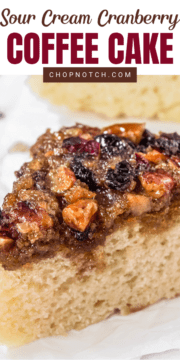 A coffee cake closeup with cranberry topping.