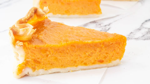 A slice of sweet potato pie.