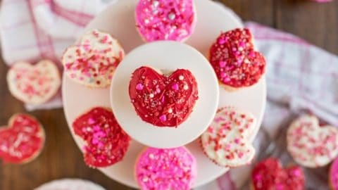 Heart shaped cupcakes for Valentine's Day.