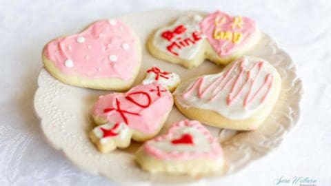 Valentine's Day sour cream sugar cookies with cream cheese frosting.