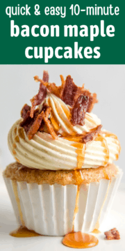 Close up of a maple flavored cupcake topped with bacon.