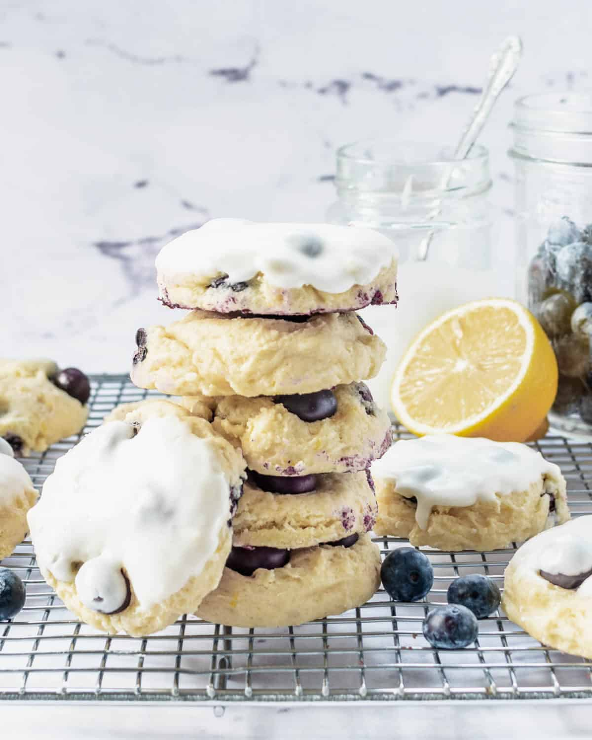 A stack of lemon blueberry cookies.