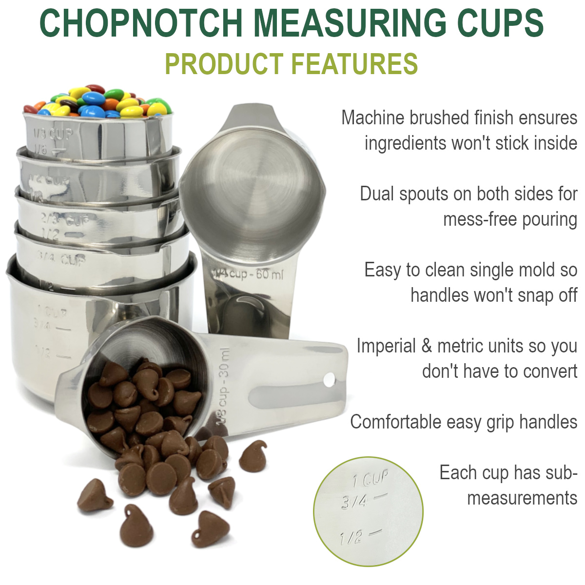 A close up of the measuring cups with a list of features.