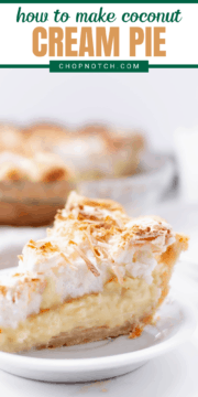 A slice of coconut cream pie with meringue on a plate.