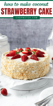 A finished coconut strawberry cake.