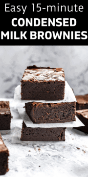 Finished brownies made with condensed milk.