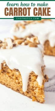 A slice of dairy free carrot cake up close.