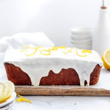 Italian lemon pound cake on a table.