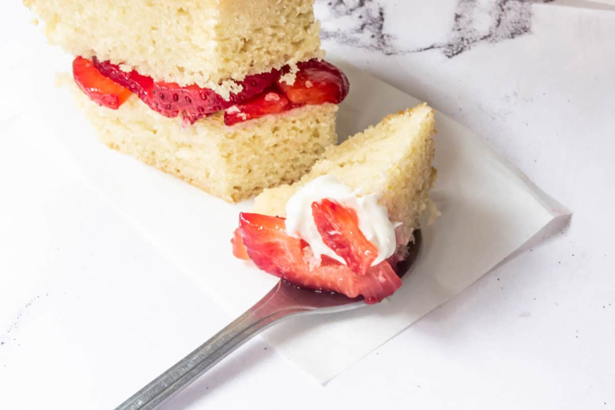 A spoonful of strawberry shortcake.