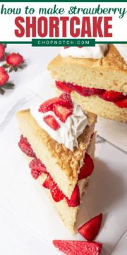 Two slices of strawberry shortcake.