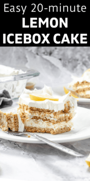 Lemon icebox cake on a plate with a fork.