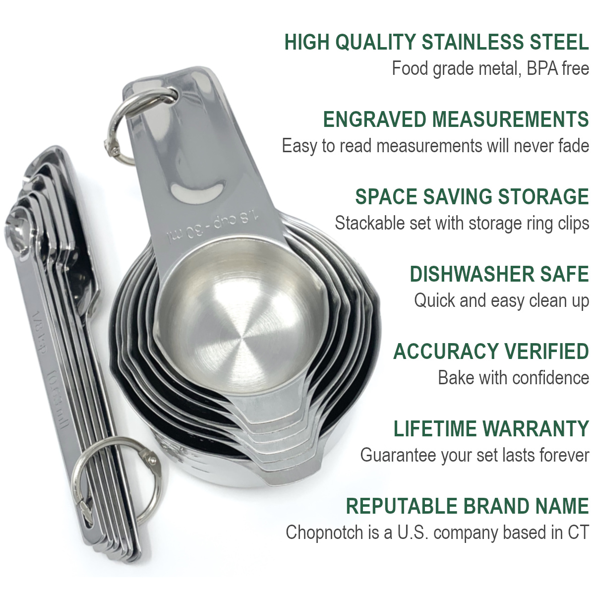 An overhead shot of the Chopnotch measuring cups and spoons nested together with a list of features.