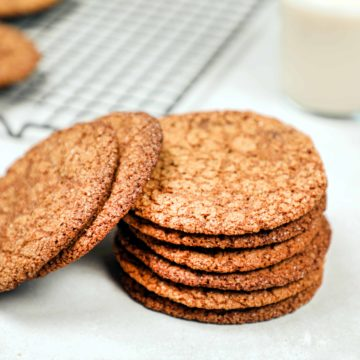 A stack of freshly baked molasses cookies.