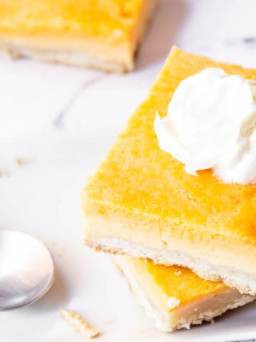 Pumpkin pie bars close up on a plate topped with whipped cream.