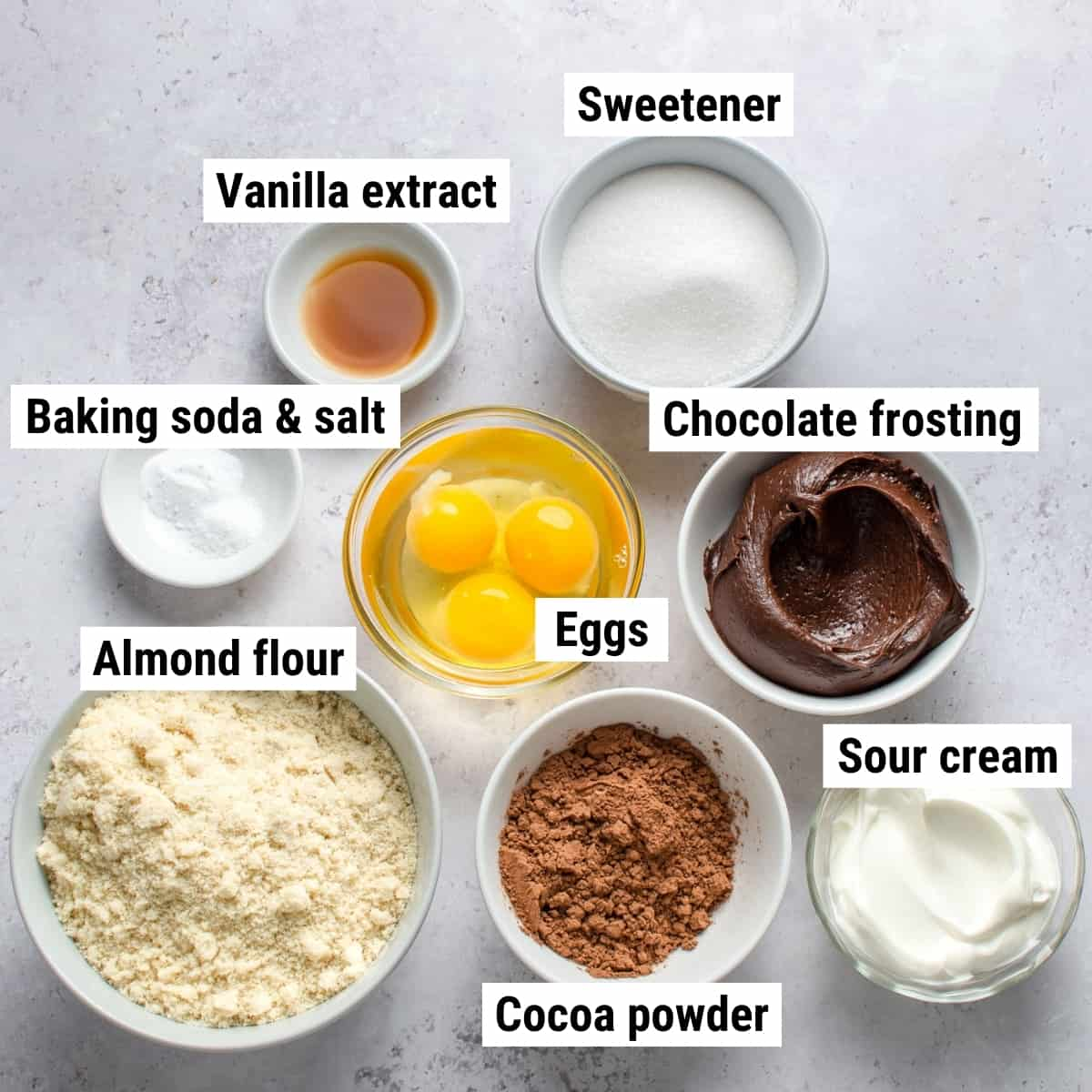 The ingredients used to make almond flour cupcakes.