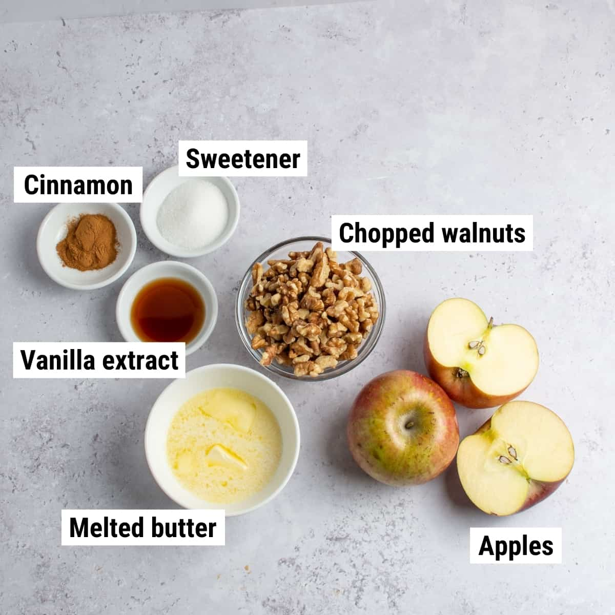 The ingredients used to make keto apple crisp laid out on a table.