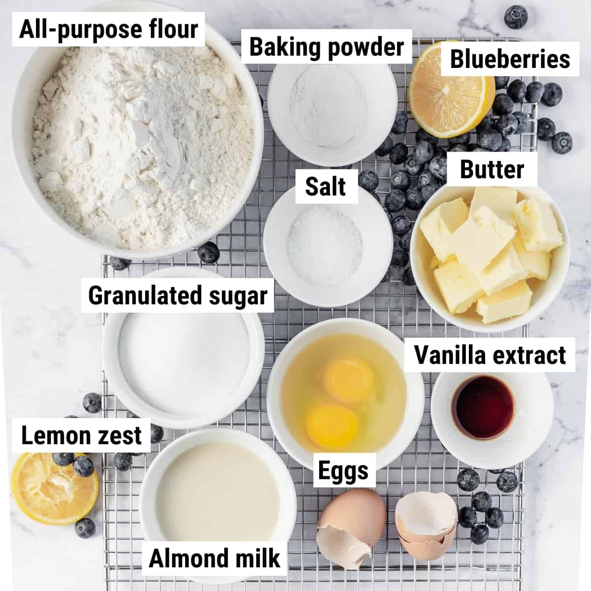 The ingredients to make lemon blueberry cookies.
