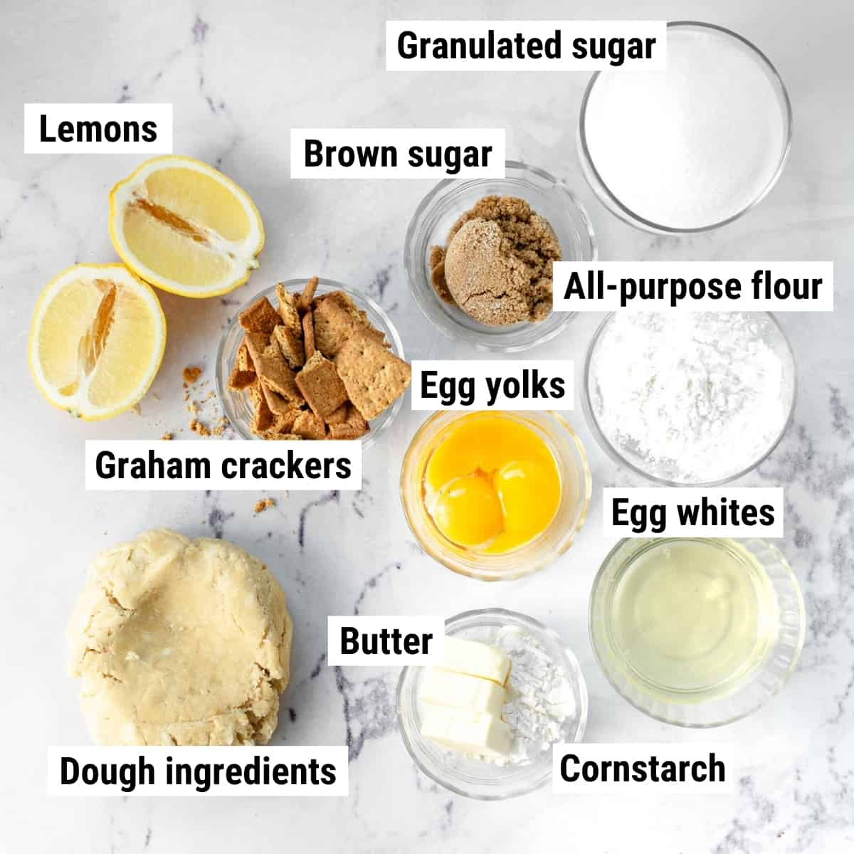 The ingredients to make lemon crunch pie laid out on a table.