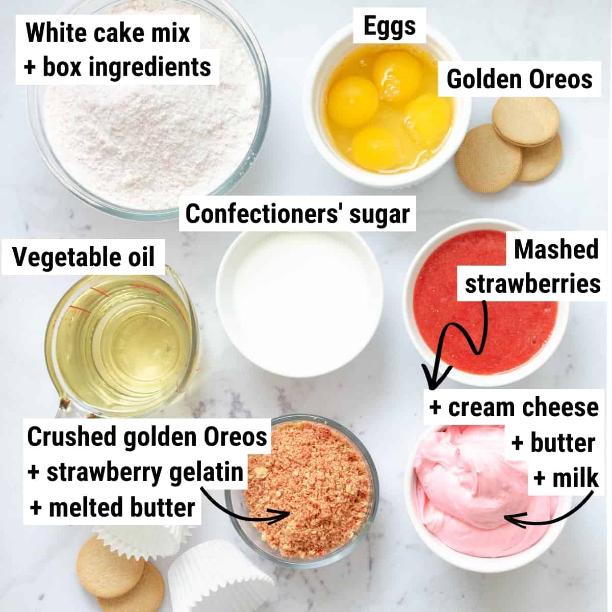 The ingredients to make strawberry crunch cupcakes.