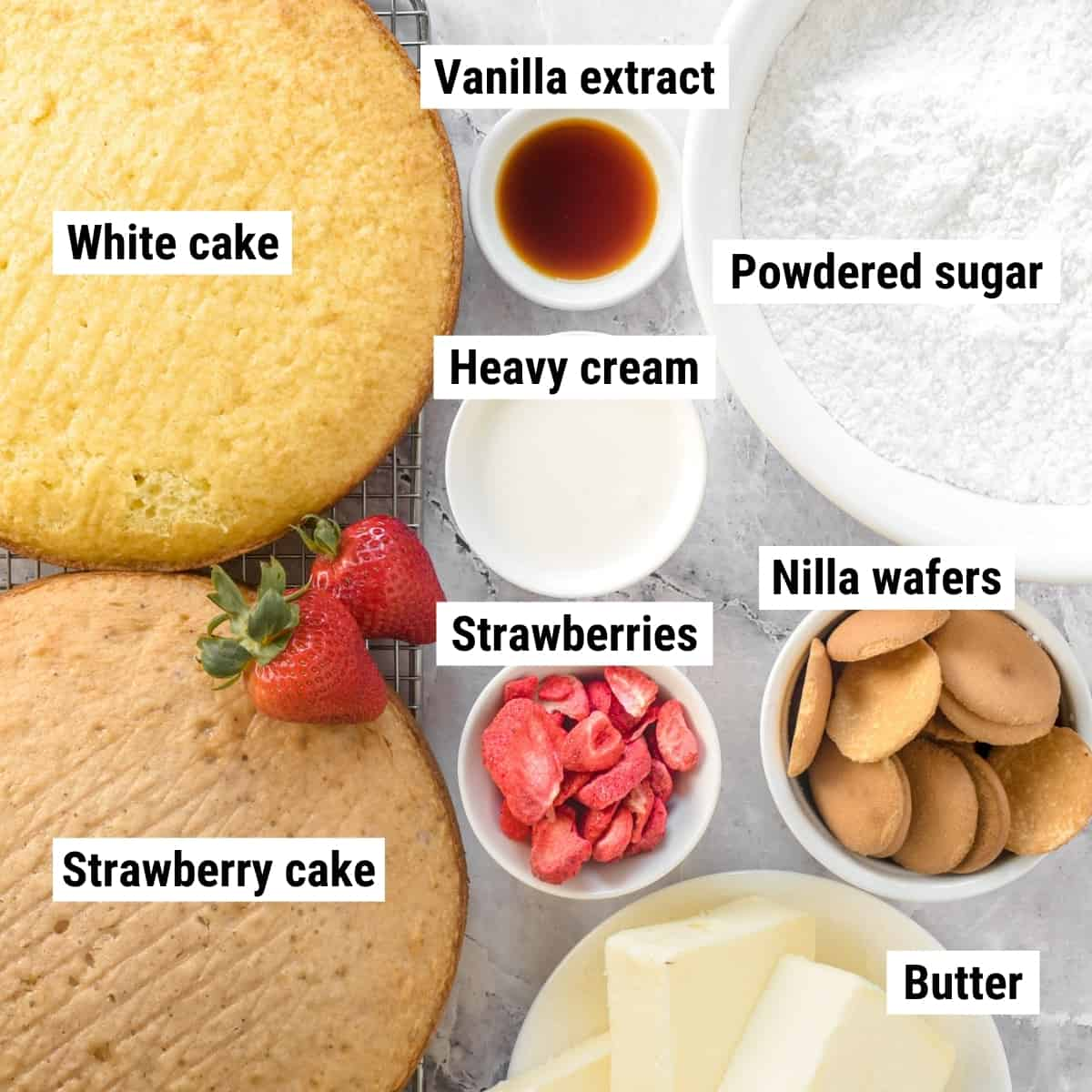 The ingredients for strawberry crunch cake laid out on a table.