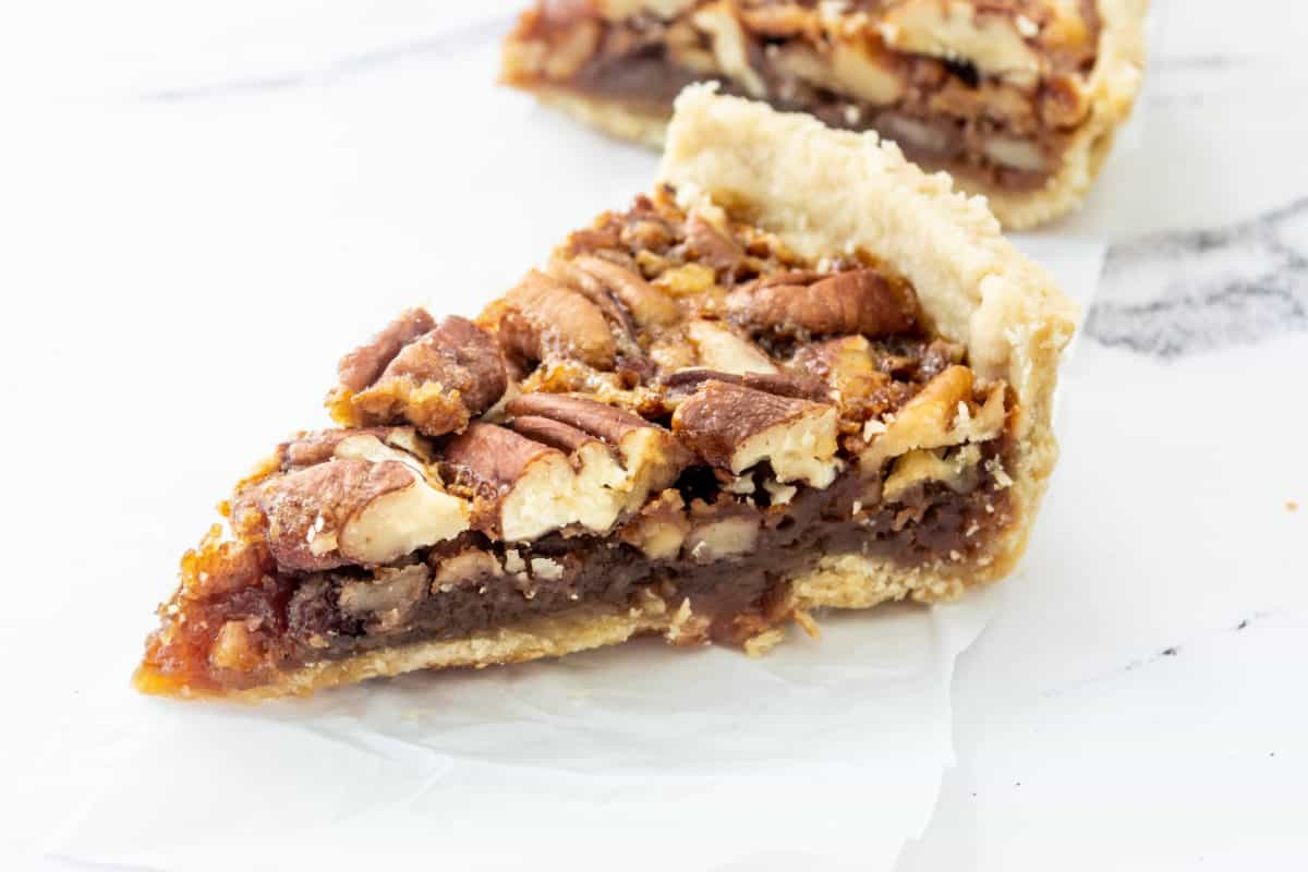 A slice of Southern pecan pie.
