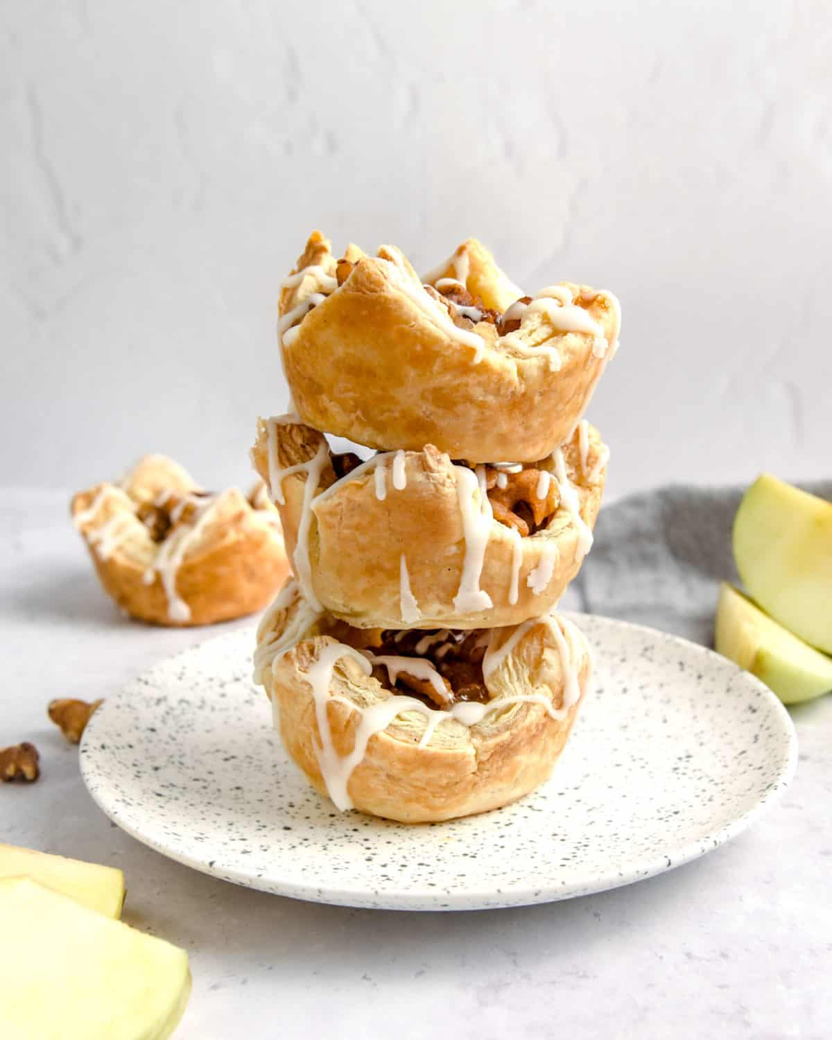 A stack of apple pastries.
