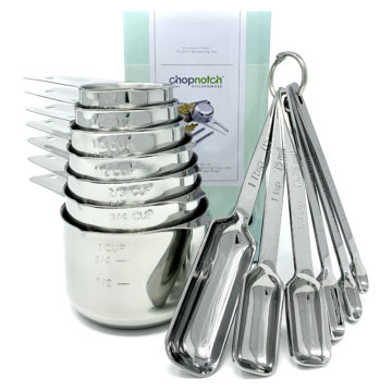 The Chopnotch measuring cups and spoons displayed with their box.