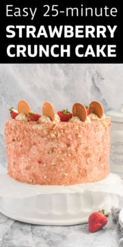 Finished strawberry crunch cake ready to be served.