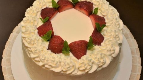 Traditional strawberry shortcake on a plate.