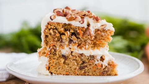 A slice of keto friendly carrot cake on a plate.